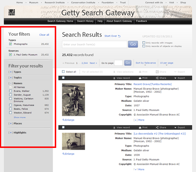 Getty Search Gateway filters